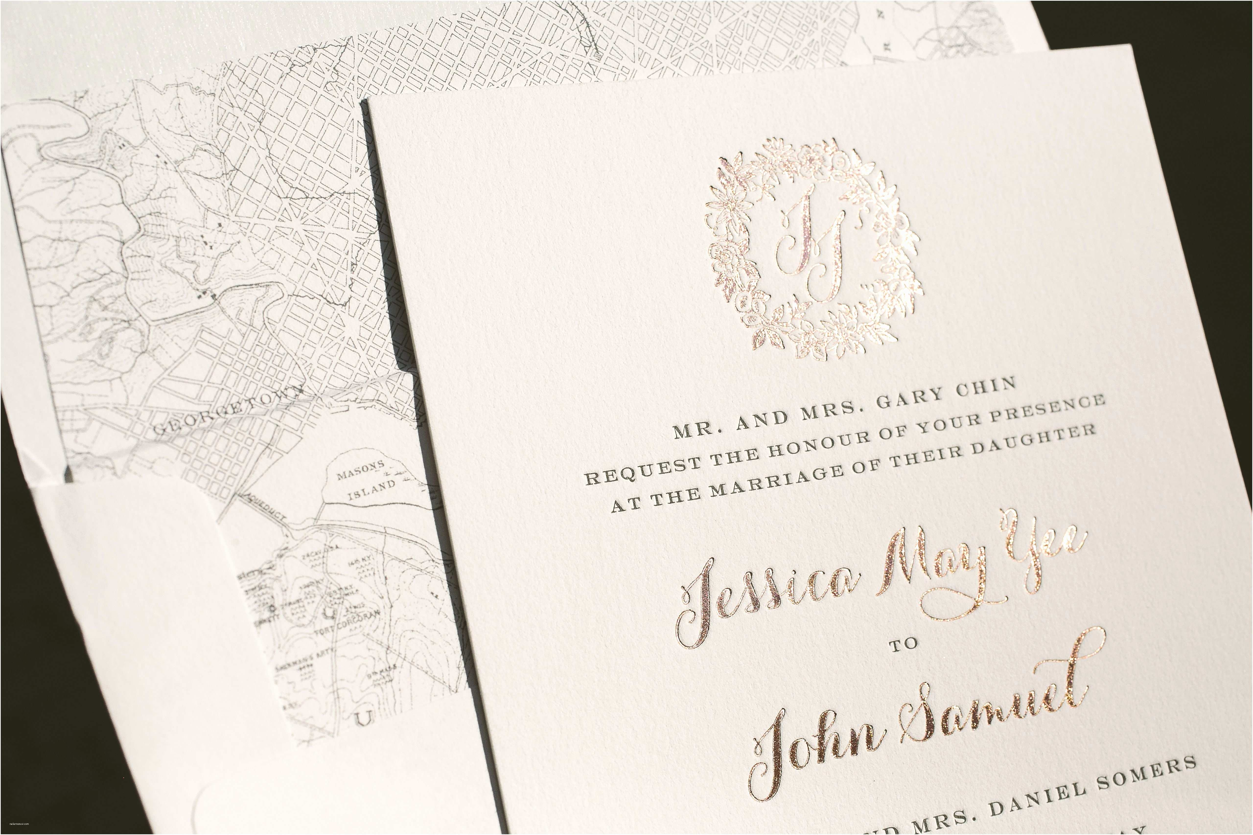 Rose Wedding Invitations Rose Gold Wedding Invitations With Floral Wreath