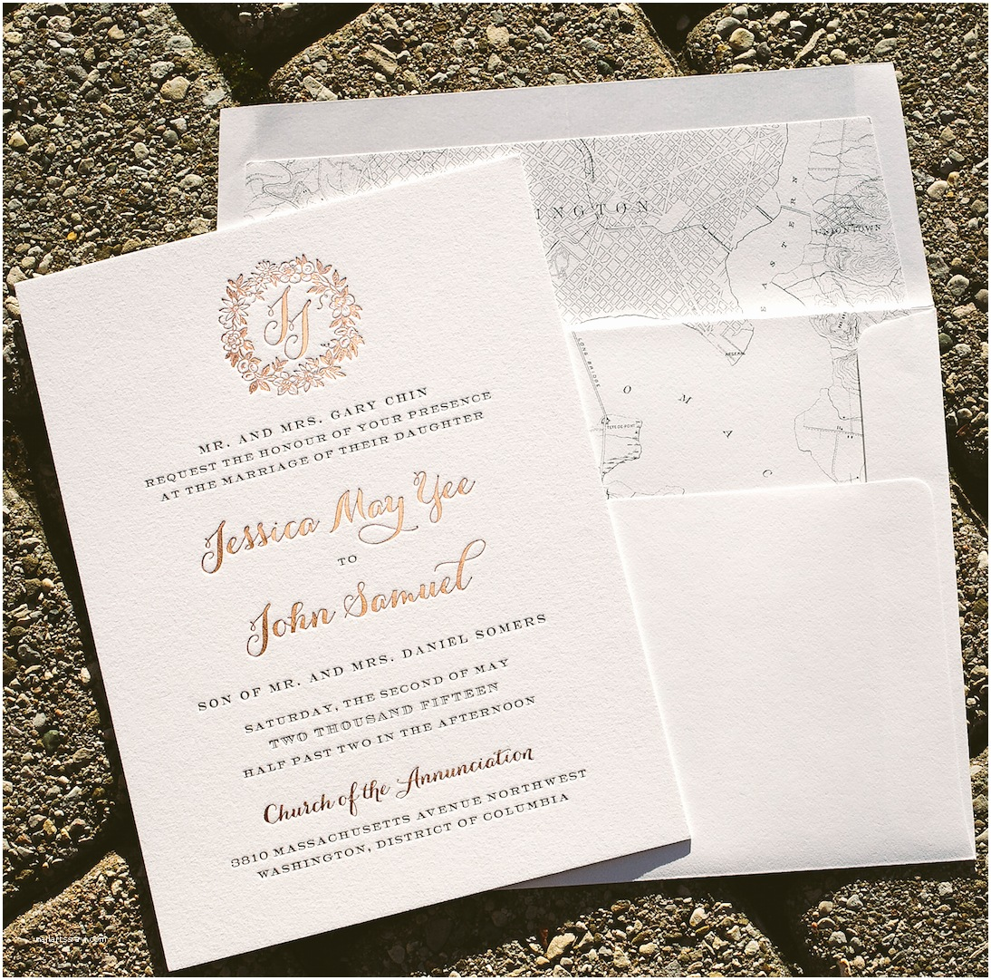 Rose Wedding Invitations Rose Gold Wedding Invitations with Floral Wreath Bella