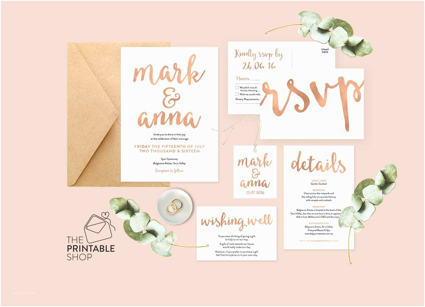 Rose Wedding Invitations Rose Gold Wedding Set Rose Gold Wedding Invitation Printable