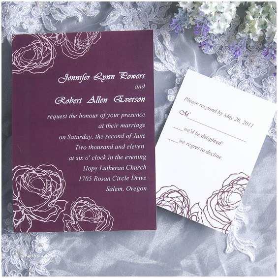 Rose Wedding Invitations Vintage Plum Rose Elegant Wedding Invitation Cards
