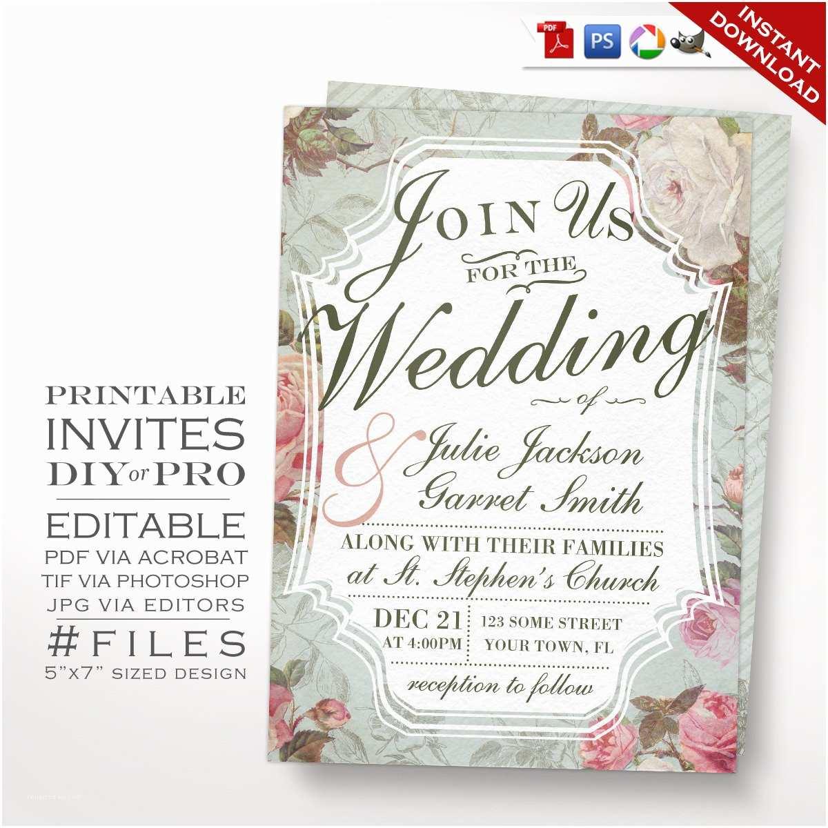 Rose Wedding Invitations Wedding Invitation Template Vintage Rose Wedding Invitation