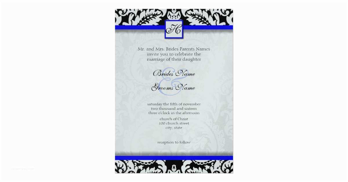 Royal Blue and Black Wedding Invitations Black Damask with Royal Blue Wedding Invitations