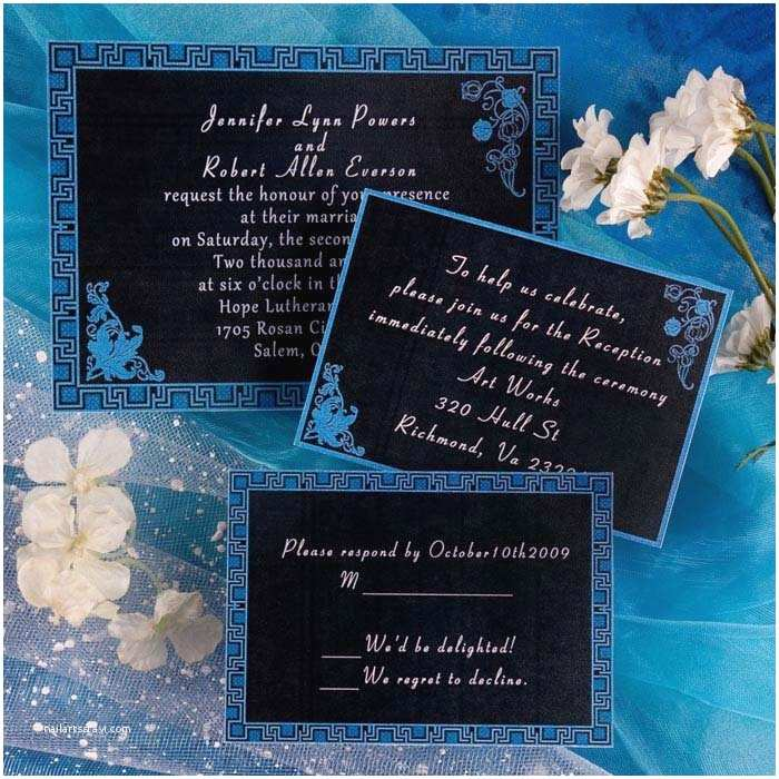 Royal Blue and Black Wedding Invitations Blue Frame Wedding Invitations Insh086 Beautiful Royal