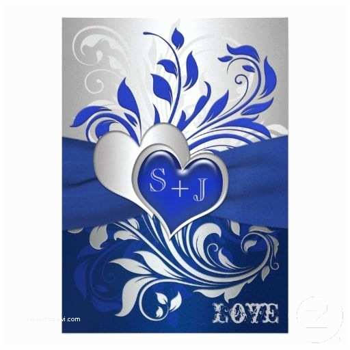 Royal Blue and Black Wedding Invitations Blue Silver Scrolls Hearts Wedding Invitation
