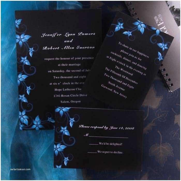 Royal Blue and Black Wedding Invitations Elegant Damask Black and Blue Wedding Invitations Ewi037