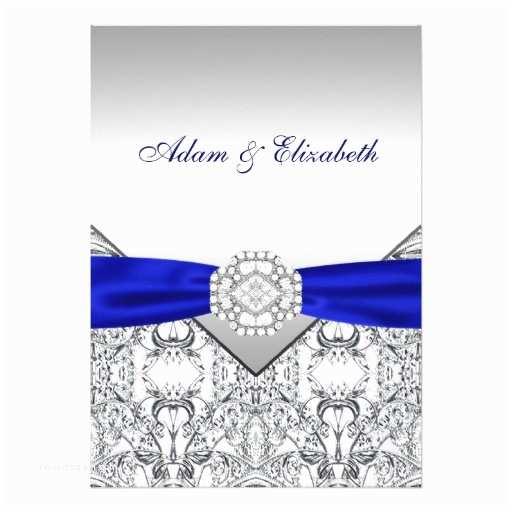 Royal Blue and Black Wedding Invitations Elegant Silver and Royal Blue Wedding Invitations