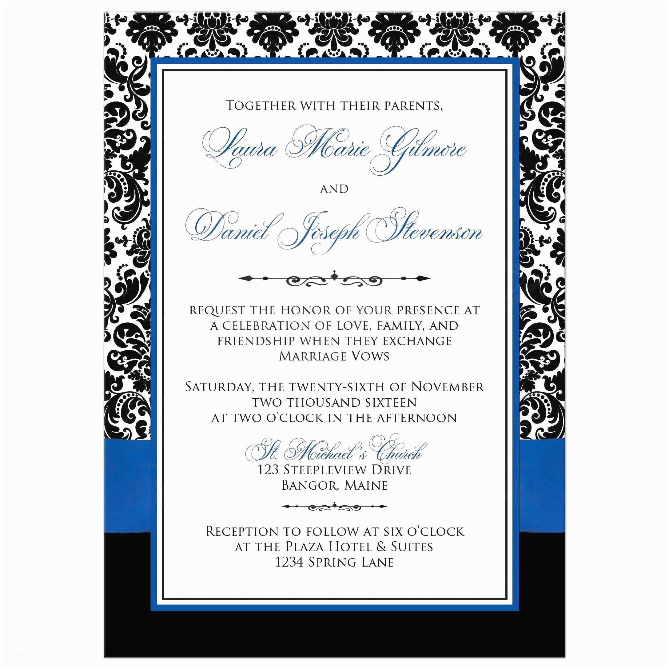 Royal Blue and Black Wedding Invitations Photo Template Wedding Invitation