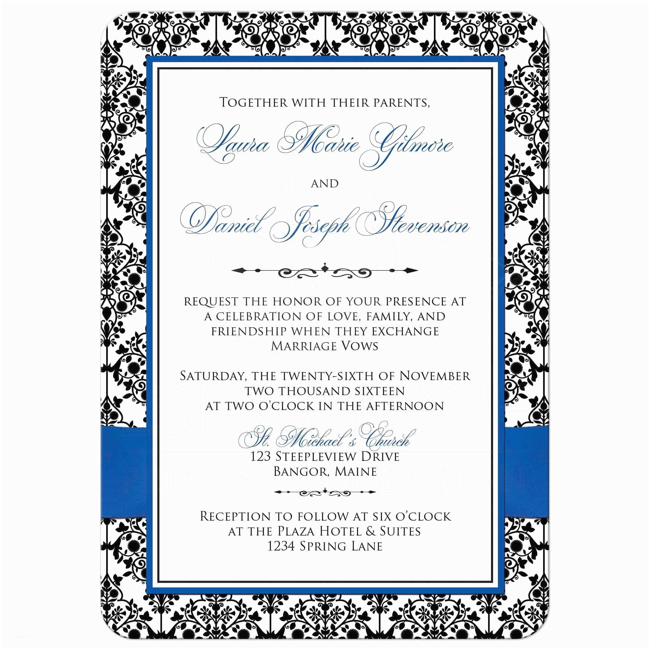 Royal Blue and Black Wedding Invitations Photo Template Wedding Invite
