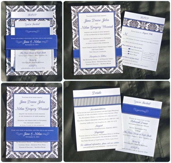 Royal Blue and Black Wedding Invitations Royal Blue & Black Damask Stripes Dots & Fleur De Lis
