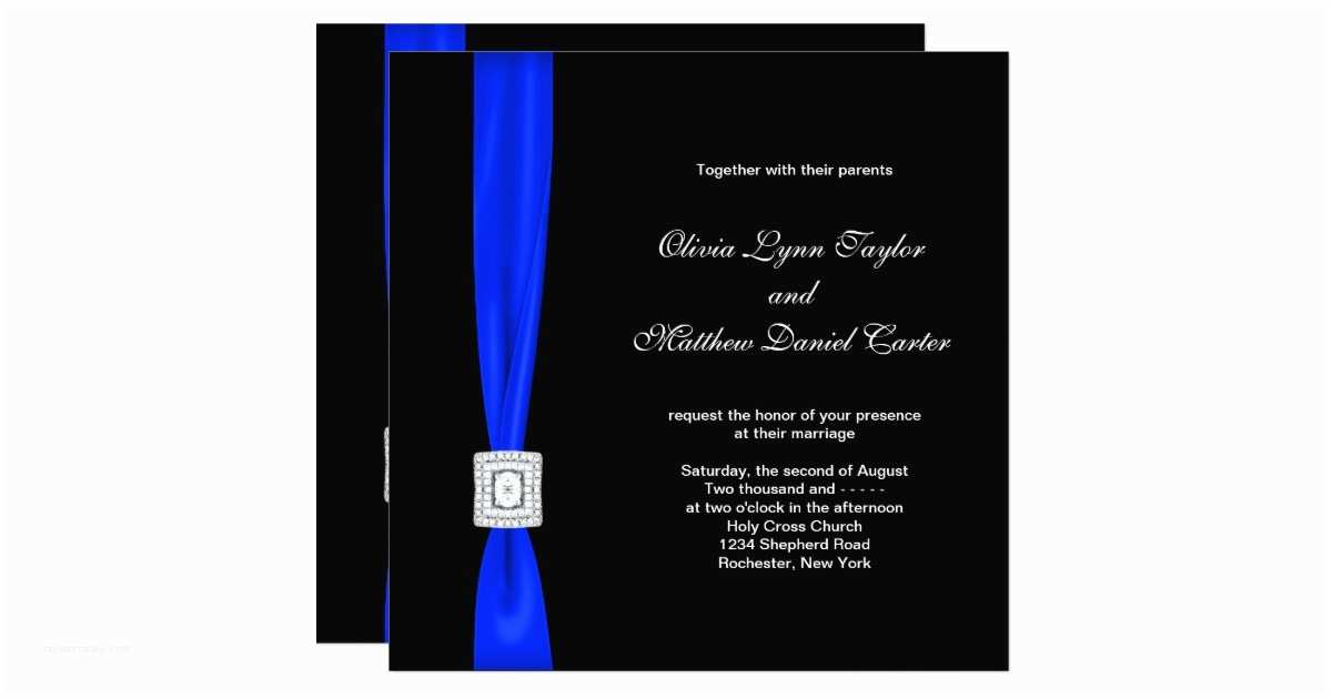 Royal Blue and Black Wedding Invitations Royal Blue and Black Wedding Card