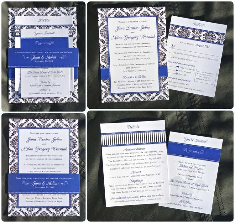 Royal Blue and Black Wedding Invitations Royal Blue and Black Wedding Invitations