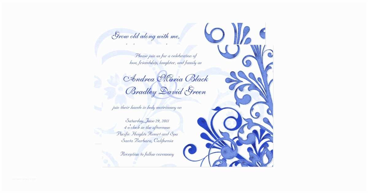 Royal Blue and Black Wedding Invitations Royal Blue and White Floral Wedding Invitation