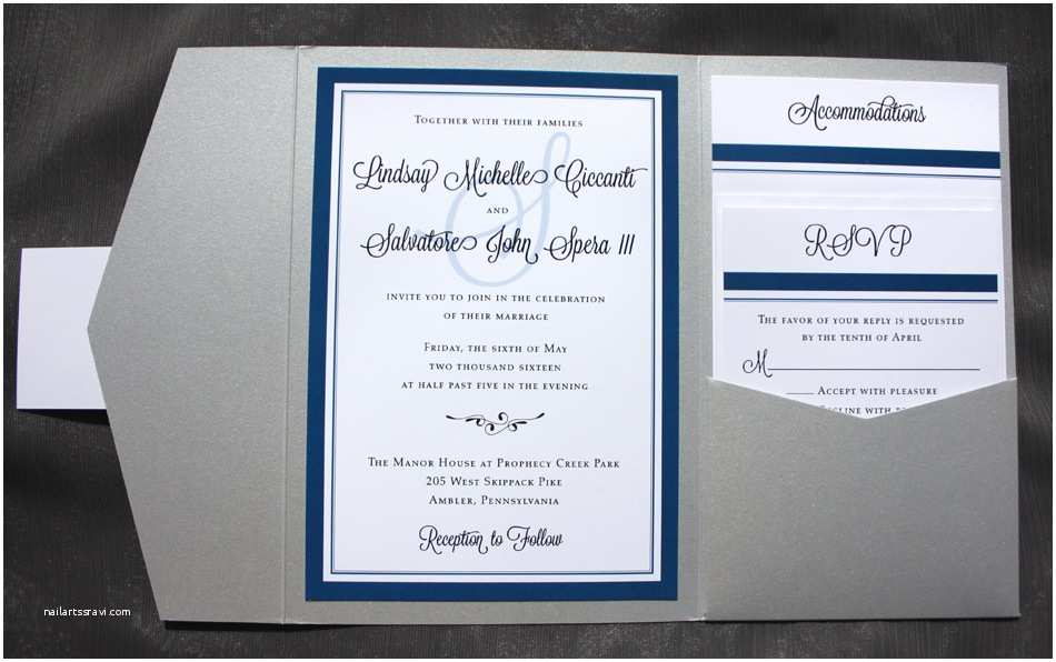 Royal Blue and Black Wedding Invitations Royal Blue Black & Silver Border Monogram & Scroll