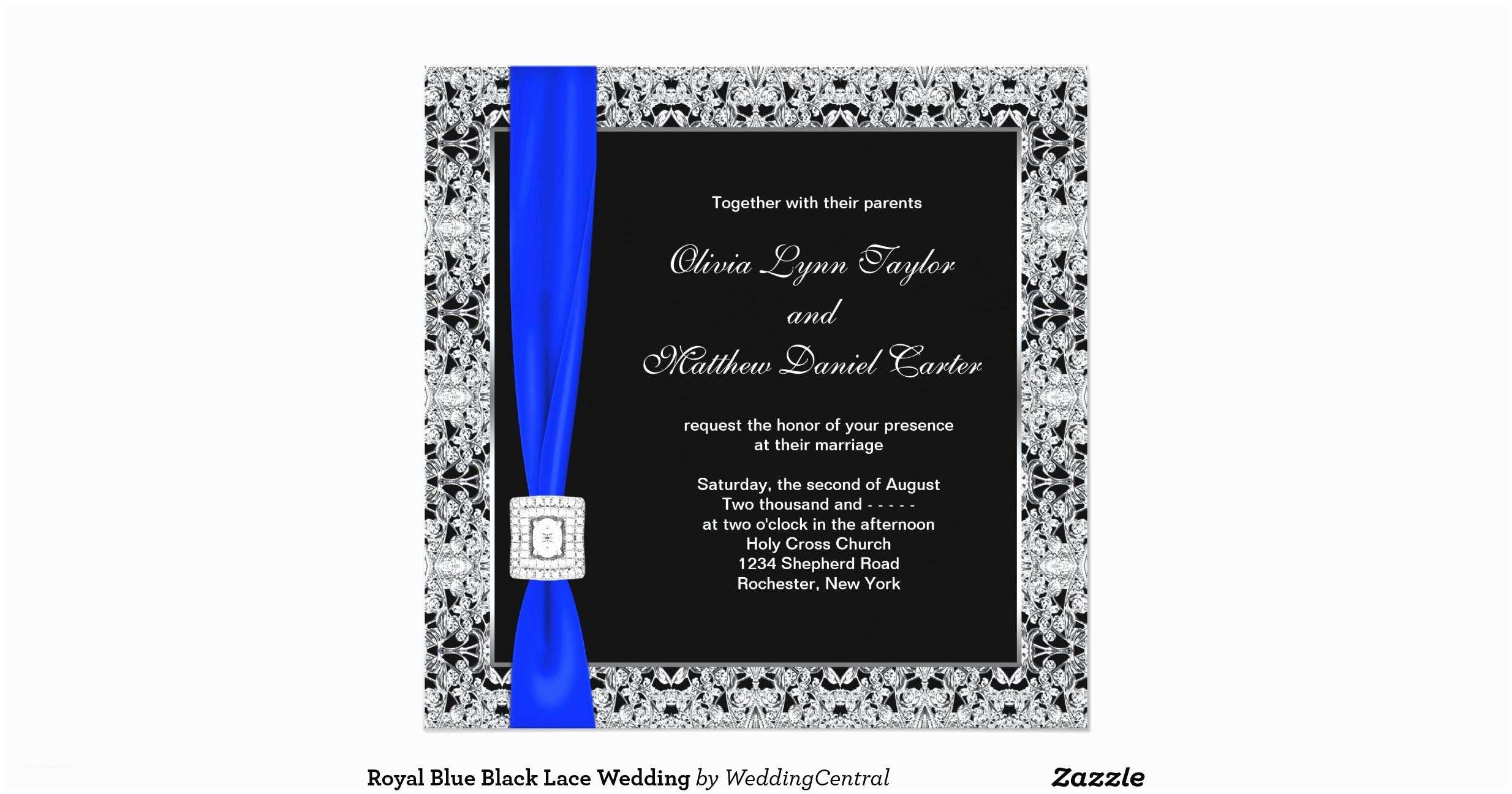 Royal Blue and Black Wedding Invitations Royal Blue Black Lace Wedding Invitation