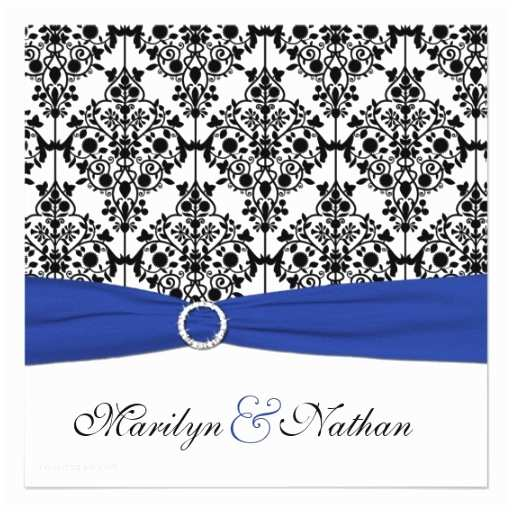 Royal Blue and Black Wedding Invitations Royal Blue White Black Damask Wedding Invitation 5 25
