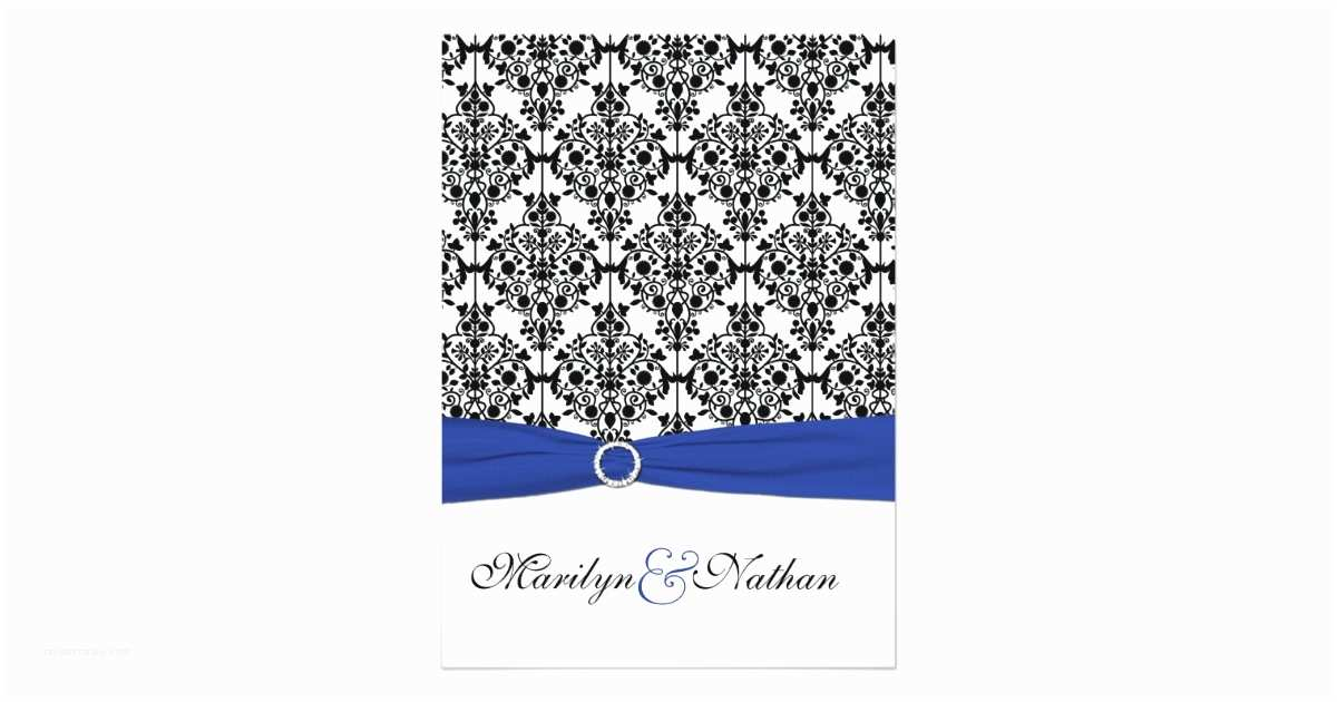 Royal Blue and Black Wedding Invitations Royal Blue White Black Damask Wedding Invitation