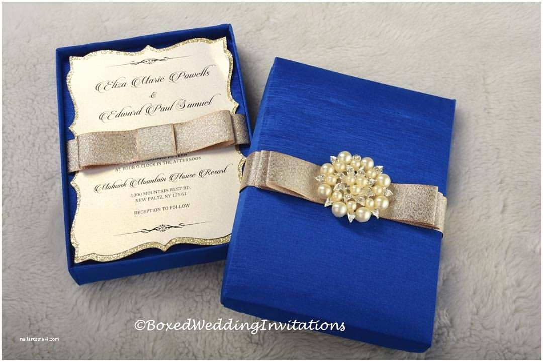 Royal Blue and Gold Wedding Invitations Design On Display