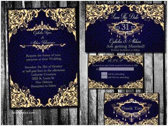 Royal Blue And Gold Wedding Invitations Elegant Royal Blue And Gold Wedding Invitation Save The