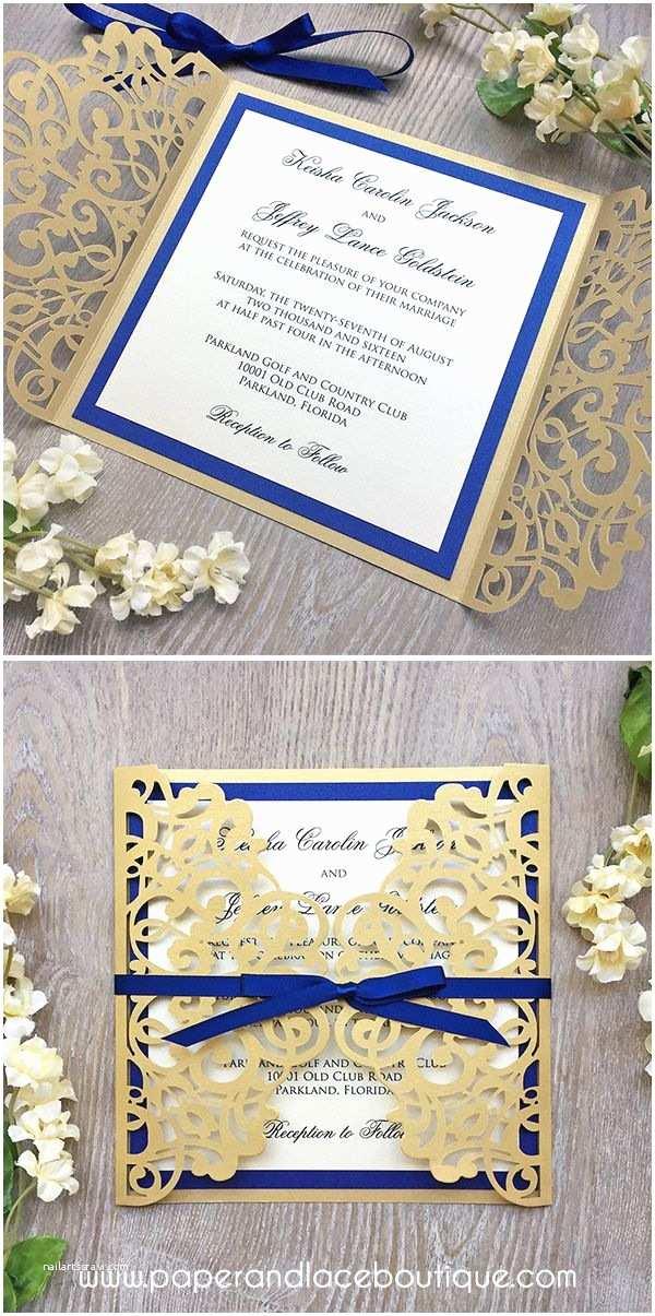 Royal Blue And Gold Wedding Invitations Laser Cut Wedding Invitation Metallic Gold Gatefold