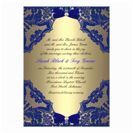 Royal Blue and Gold Wedding Invitations Navy Blue and Gold Wedding Invitation