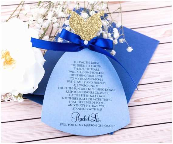 Royal Blue and Gold Wedding Invitations Royal Blue and Gold Bridesmaid Invitation Will You Be My