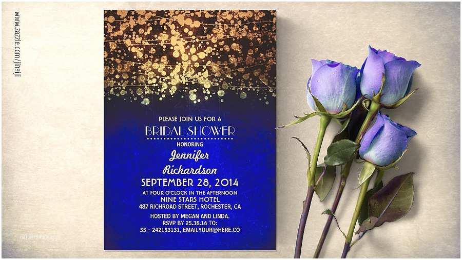 Royal Blue and Gold Wedding Invitations Royal Blue and Gold Confetti Bridal Shower Invitations