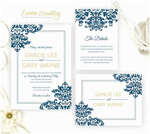Royal Blue And Gold Wedding Invitations Royal Blue And Gold Damask Wedding Invitation Kits