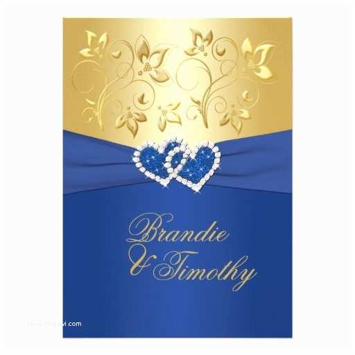 """Royal Blue and Gold Wedding Invitations Royal Blue and Gold Floral Wedding Invitation 5"""" X 7"""