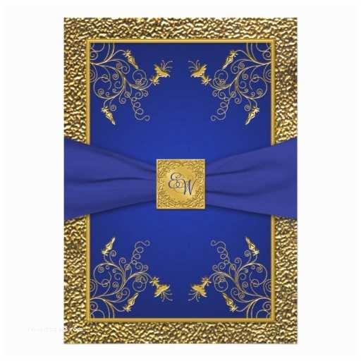 """Royal Blue And Gold Wedding Invitations Royal Blue And Gold Monogram Wedding Invitation 5"""" X"""