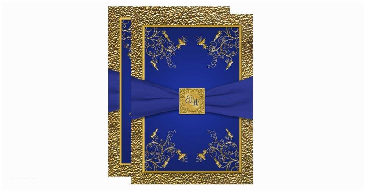 Royal Blue and Gold Wedding Invitations Royal Blue and Gold Monogram Wedding Invitation