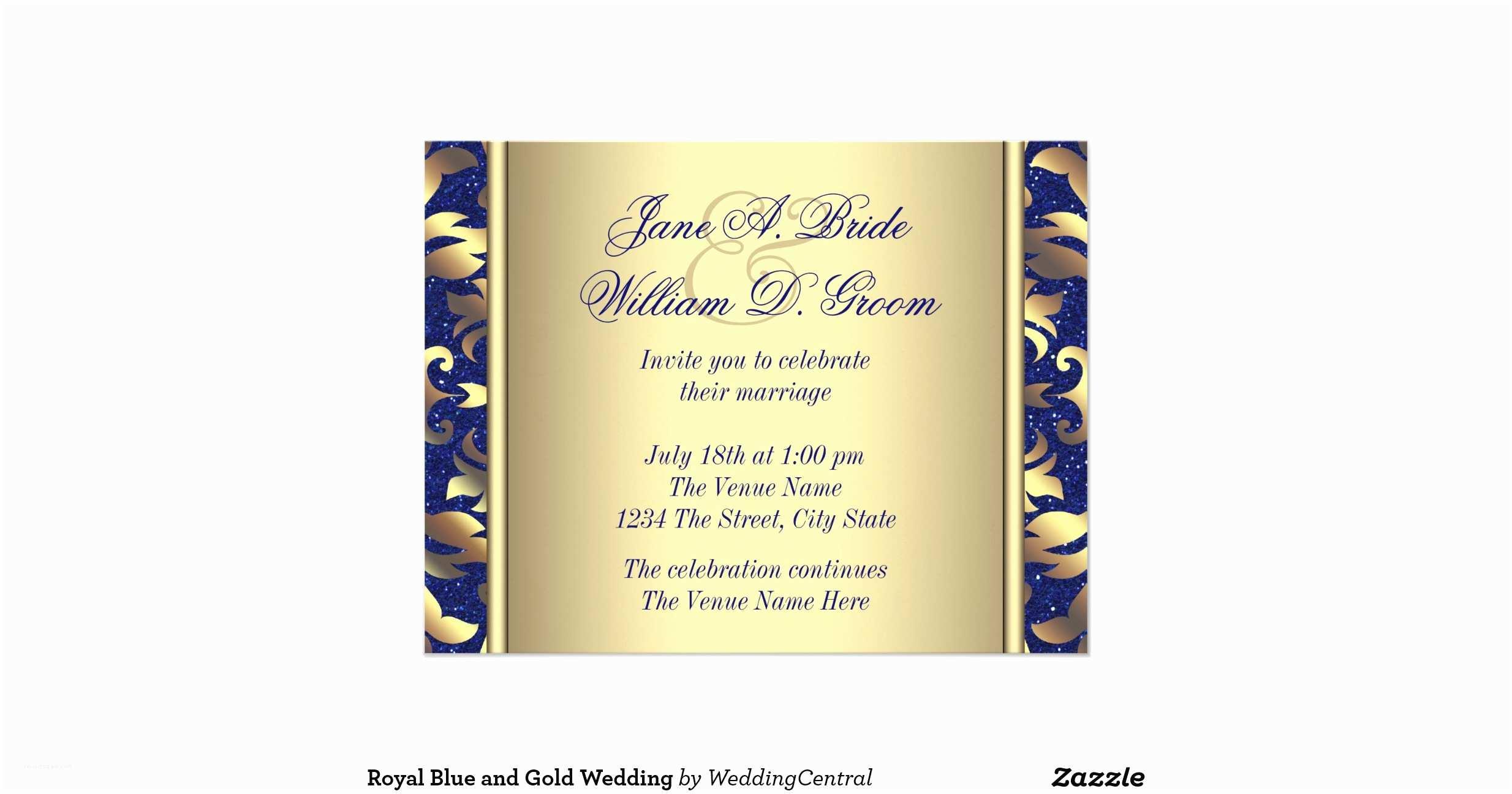 Royal Blue and Gold Wedding Invitations Royal Blue and Gold Wedding 11 Cm X 14 Cm Invitation Card