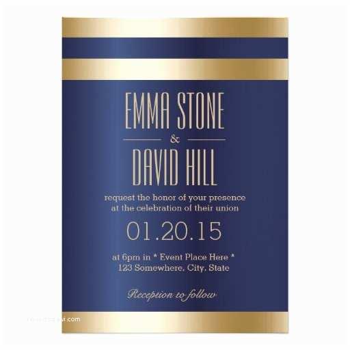Royal Blue and Gold Wedding Invitations Royal Blue Gold Foil Stripes Wedding Invitations