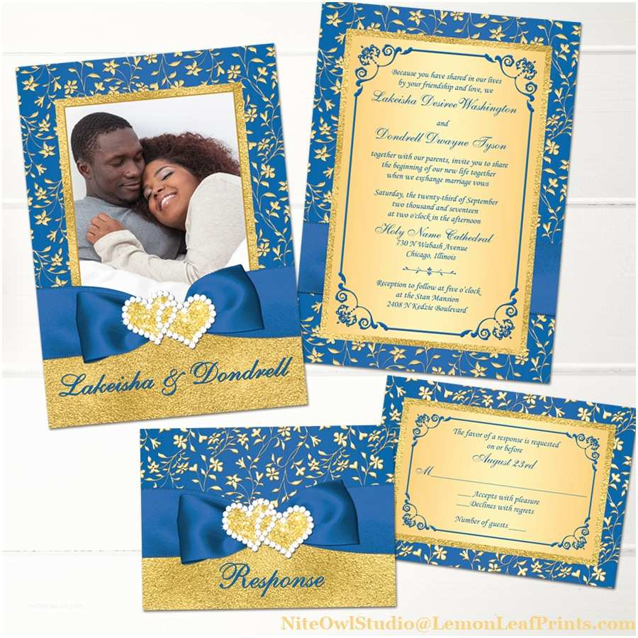 Royal Blue and Gold Wedding Invitations Royal Blue Gold Joined Hearts Jewel Wedding Invitation Set