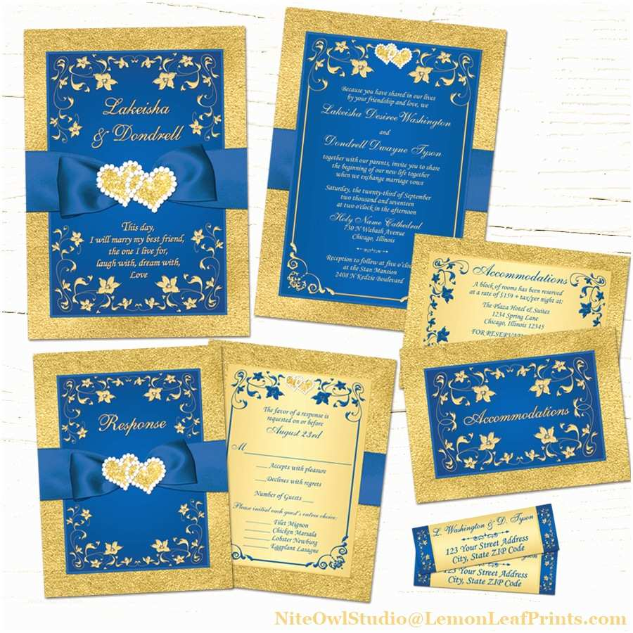 Royal Blue And Gold Wedding Invitations Royal Blue Gold Joined Hearts Jewel Wedding Invitation