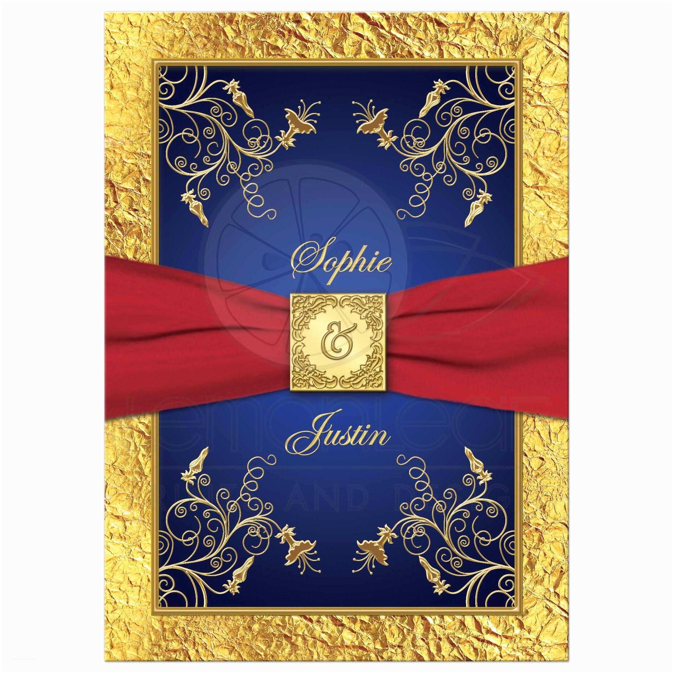 Royal Blue And Gold Wedding Invitations Wedding Invitation Blue Red Gold