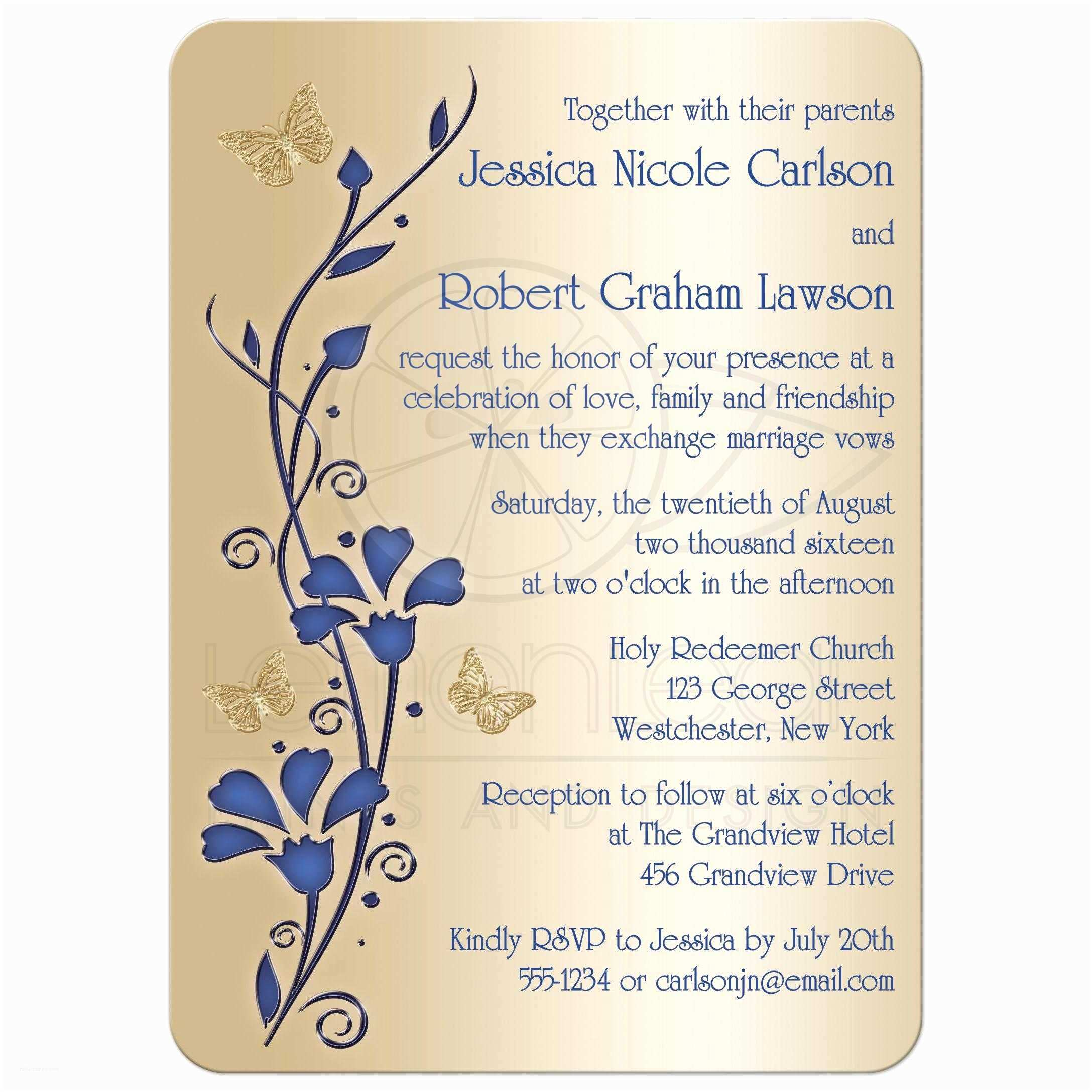 Royal Blue and Gold Wedding Invitations Wedding Invitation Royal Blue and Gold