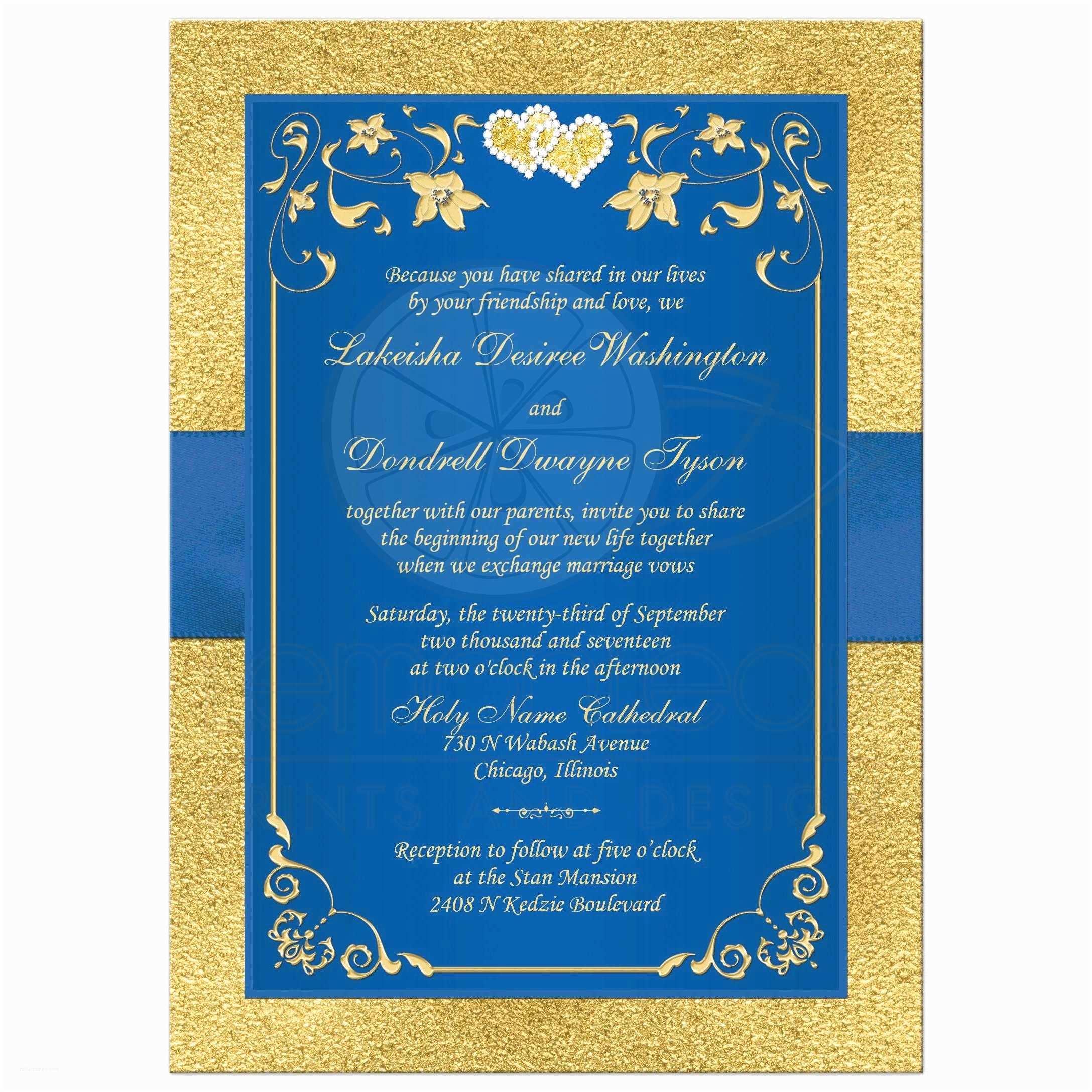 Royal Blue and Gold Wedding Invitations Wedding Invitation Royal Blue Faux Gold Foil Floral