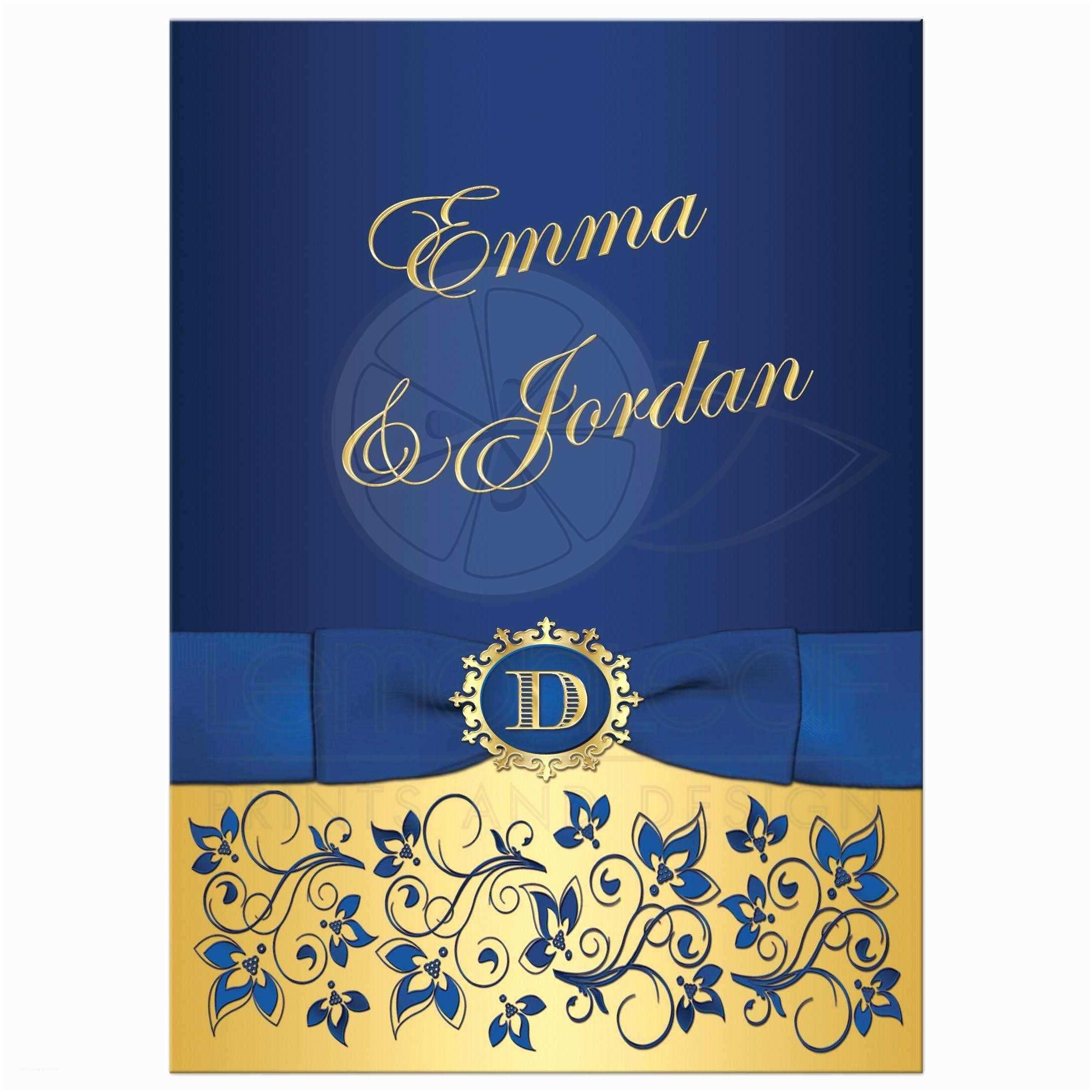 Royal Blue and Gold Wedding Invitations Wedding Invitation Royal Blue Gold Floral