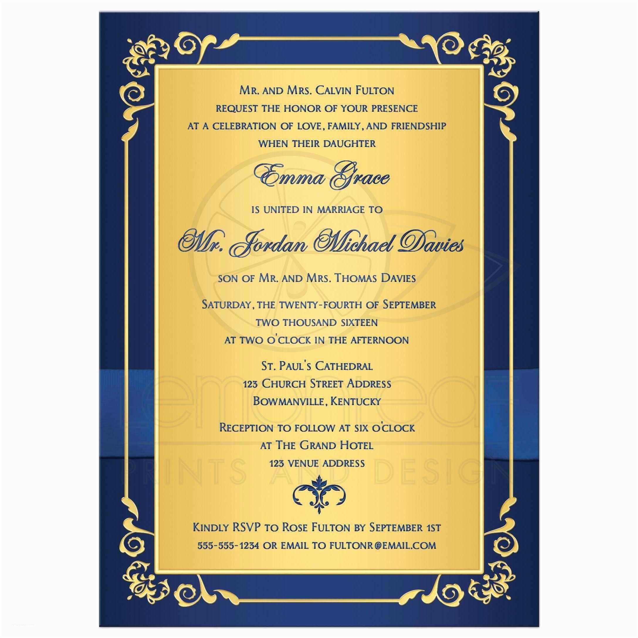 Royal Blue And Gold Wedding Invitations Wedding Invitation Royal Blue Gold