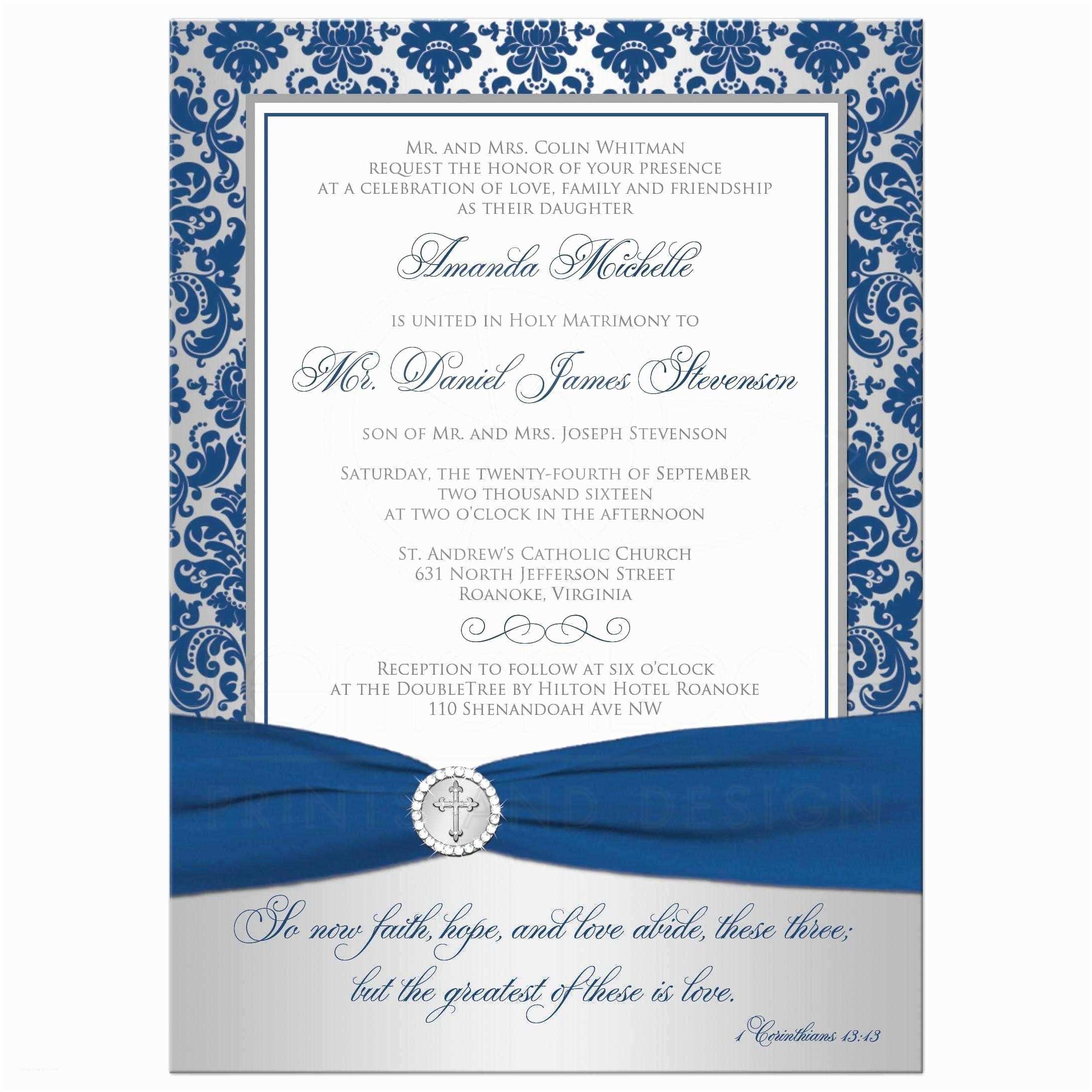 Royal Blue and Silver Wedding Invitations Christian Wedding Invitation