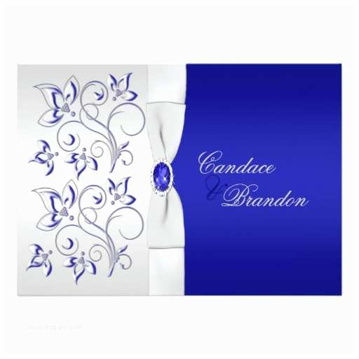 Royal Blue and Silver Wedding Invitations Royal Blue and Silver Floral Wedding Invitation