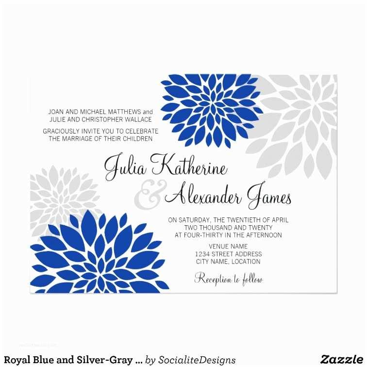 Royal Blue and Silver Wedding Invitations Royal Blue and Silver Gray Floral Burst Wedding Card