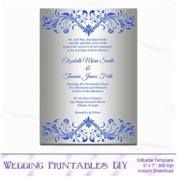Royal Blue and Silver Wedding Invitations Royal Blue and Silver Wedding Invitation Template Diy Silver