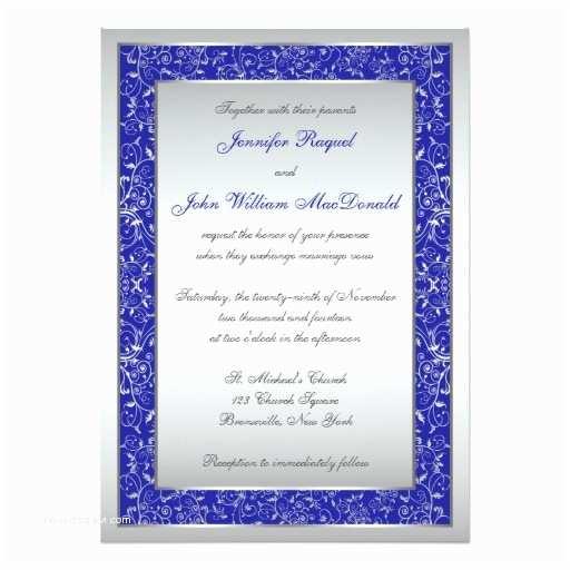Royal Blue and Silver Wedding Invitations Royal Blue Silver ornate Scrolls Wedding Invite