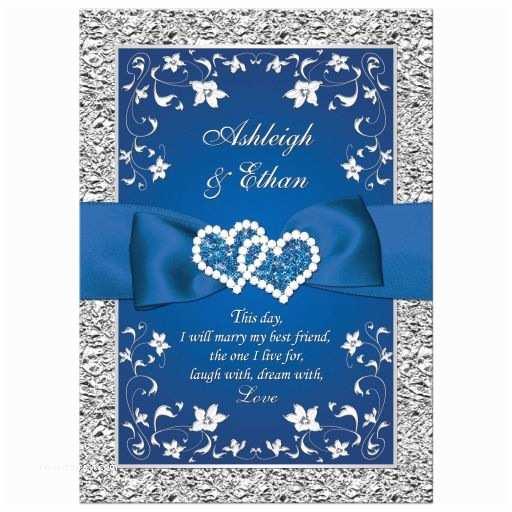 Royal Blue and Silver Wedding Invitations Royal Blue Wedding Invitation