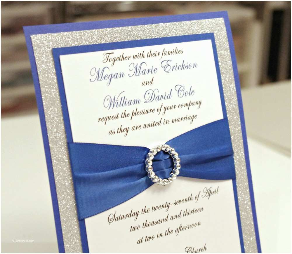 Royal Blue and Silver Wedding Invitations Stunning Royal Blue & Silver Glitter Wedding by Invitebling