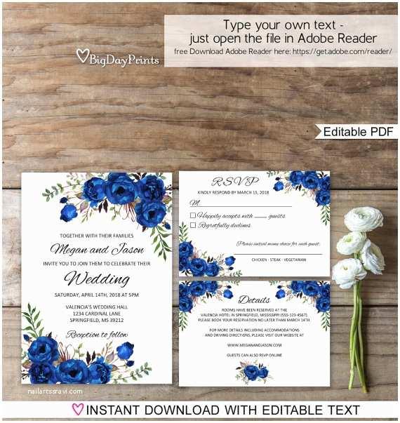 Royal Blue  Invitations Blue  Invitation Template Royal Blue