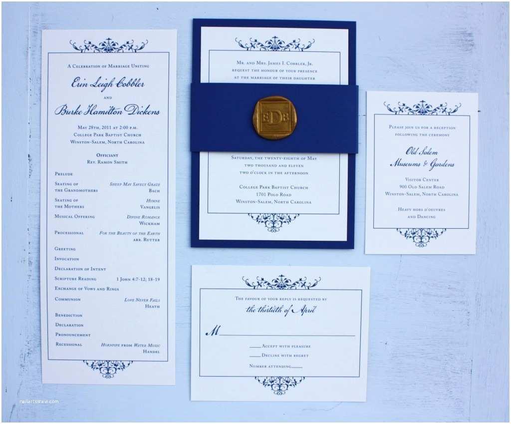 Royal Blue Wedding Invitations Colonial Wedding Invitations & Programs Emdotzee Designs