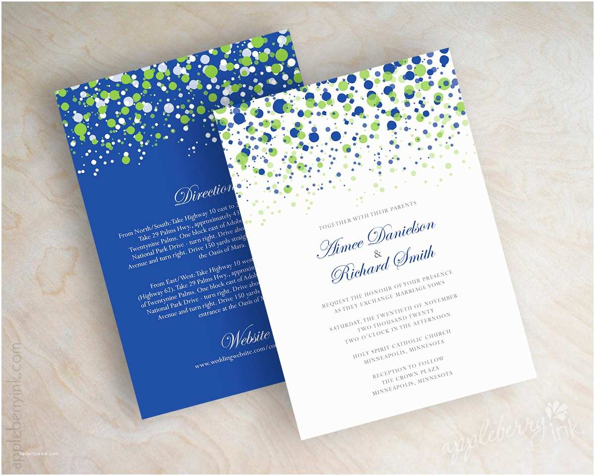 Royal Blue Wedding Invitations Lime Green and Royal Blue Wedding Invitations Lime Green and