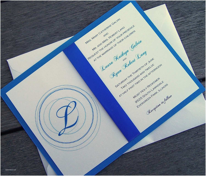 Blue Wedding Invitations Monogram Wedding Invitation Blue Wedding Invitation